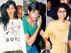 Guess they didn't fancy dressing for dinner! Aamir and Katrina go casual for meal in Mumbai, while Ranbir sports his much-loved hoodie